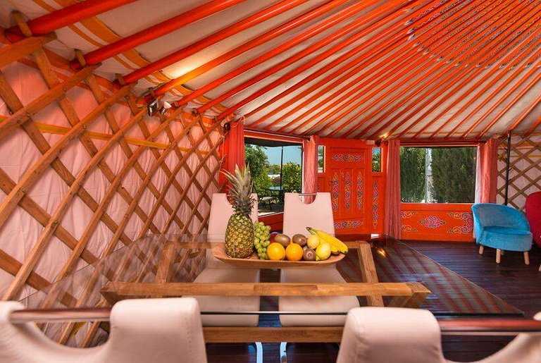 red decorated yurt